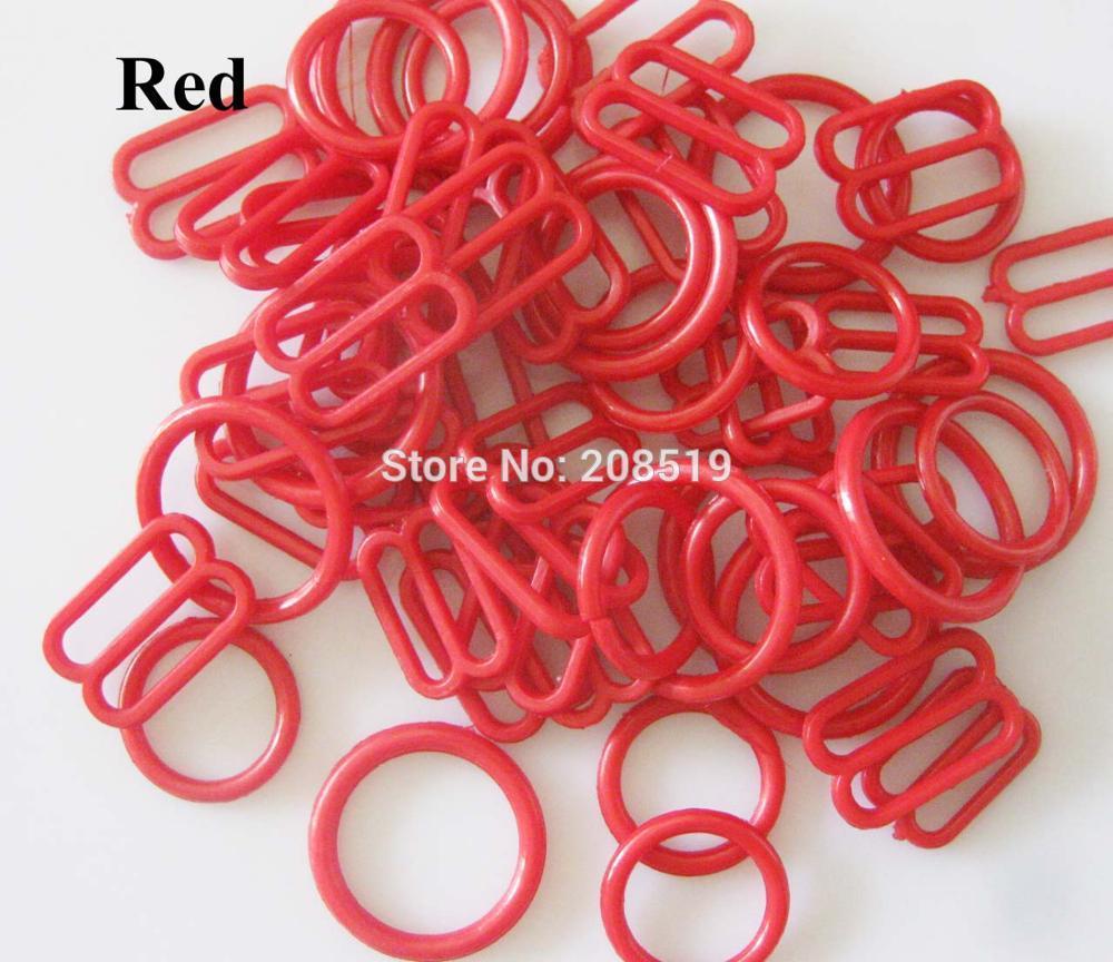 NBNLAE 100 шт. пряжки для бюстгальтера(50 шт. уплотнительное кольцо+ 50 шт. 8 слайдеров) красочные пластиковые пряжки нижнее бельё с пуговицами аксессуары - Цвет: red as show