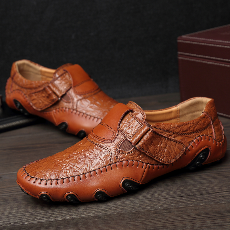 LanLoJer Casual Pu Leather Shoes for Men Weight Light Drive Shoes Male Comfortable Flats Shoes Brown Black Large Sizes Sneakers