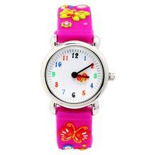 Marca WL niños relojes Niños reloj de Cuarzo niñas estudiantes de Cuarzo reloj Lindo mariposa colorida impermeable 30 m