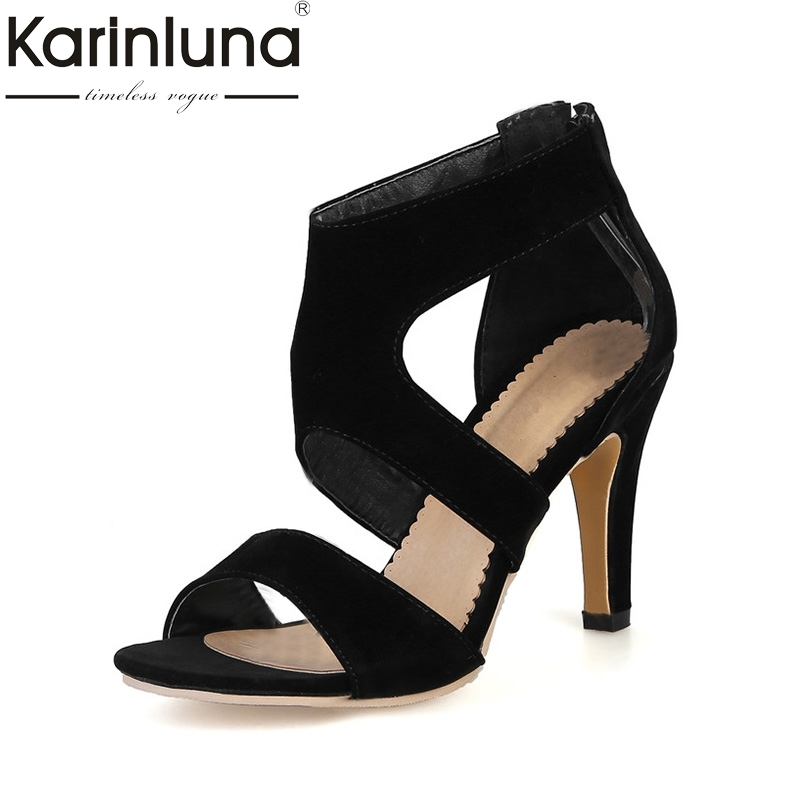 KARINLUNA 2018 New Big Size 34-43 Thin High Heels Woman Shoes Sexy Gladiator Party Dating Sandals shoes women Lady Footwear rousmery 2017 ankle wrap rhinestone high heel sandals woman abnormal jeweled heels gladiator sandals women big size 43