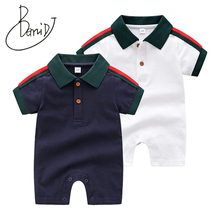 2019 Summer Baby Boy Romper Short Sleeve Cotton Infant Jumpsuit Solid Baby Girl Turn-down Collar Rompers Newborn Baby Clothes picturesque childhood official store 2018 gentleman rompers baby clothes full sleeve solid turn down collar boy 2 1 set hot sale