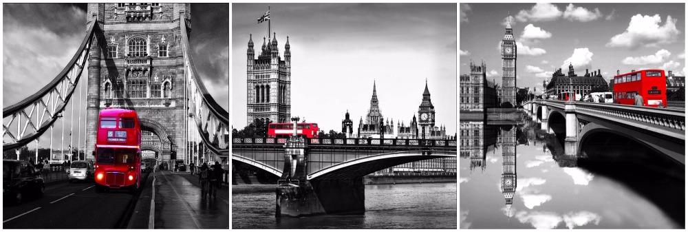 3 Panels Nice Big Ben And Red Bus Of London City View Black And White Wall Art Canvas Paintings