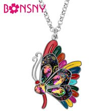 Bonsny Enamel Alloy Rhinestone Elegant Butterfly Pendant Long Chain Choker Insect Necklace Jewelry For Women Girls Decoration(China)