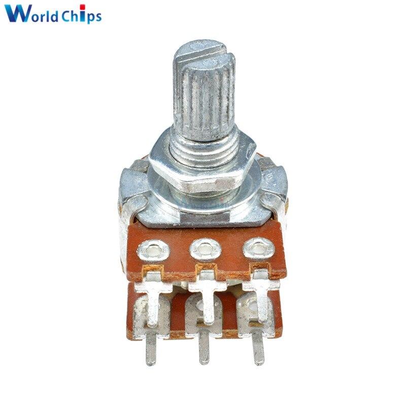 20 Sets 50K Ohm 3 Pin 15mm Split Shaft Rotary Linear Taper Audio Potentiometer
