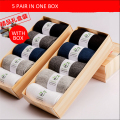 Men 100% Pure Cotton Autumn And Winter Socks Casual Style Solid Color Men Short Socks 5 Pair In One Box A2714