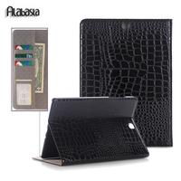 For Tab S3 9.7 SM T820 T825 Smart Crocodile Leather Cover Case for Samsung Galaxy Flip Stand Case card pocket stylus
