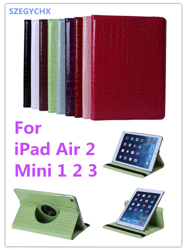 Tablet Case for iPad Air2 / Mini 1 2 3 Case 360 Rotation Flip With Stand Function PU Leather Crocodile Smart Cover SZEGYCHX new rotation 360 degree rotating leopard flip stand pu leather protective skin cover case for apple ipad mini 1 2 3 7 9 tablet