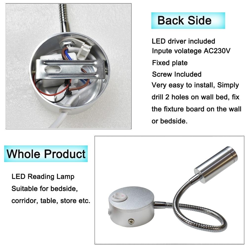 Wandlamp Zilver Zwart LED Moderne wandlamp met stekker 3W 270lm - Binnenverlichting - Foto 5