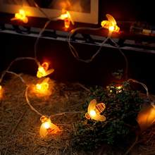 Curtain Bee Lights String House Party Decor Striking With 10 LED Beads(China)