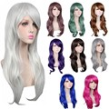 14 Colors Women Synthetic Wigs Long Curly Black Red Pink Brown Anime Cosplay Wig Womens Party Kanekalon Fibre Hair Wigs 70cm