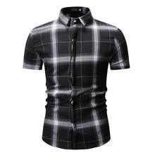 Lattice Mens Shirts Plaid Check Design Short sleeve Clothing Slim fit New model White Black Summer