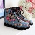 Estilo Punk Impresso lace up Martin botas Mulheres botas altas Botas de Montaria Tornozelo Botines Mujer 2016 Motocicleta Inverno Botas de Grande Porte
