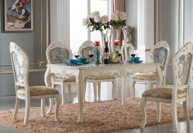 Luxury Color Custom Dining Room Furniture Luxury Wooden Ding Table And Chair White Color Dining Sets Classical Dining