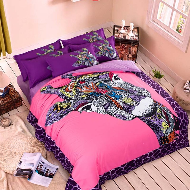 Bright Colored Cartoon Giraffe Fashion Bedding Set Twin Queen King Size  Polyester Duvet Cover Cotton Fitted
