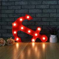 Jiaderui Baby Room Creative Pirate Anchor LED Lamp Marquee Sign Wall Lights Red Color UP Plastic Lamp Home Indoor Bedroom Decor