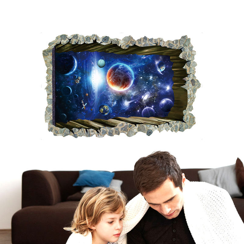 NEW Large 3d Cosmic Spaceman Galaxy Wall Sticker Star Home Decoration For Kids Room Floor Living Room Wall Decals Home Decor 3