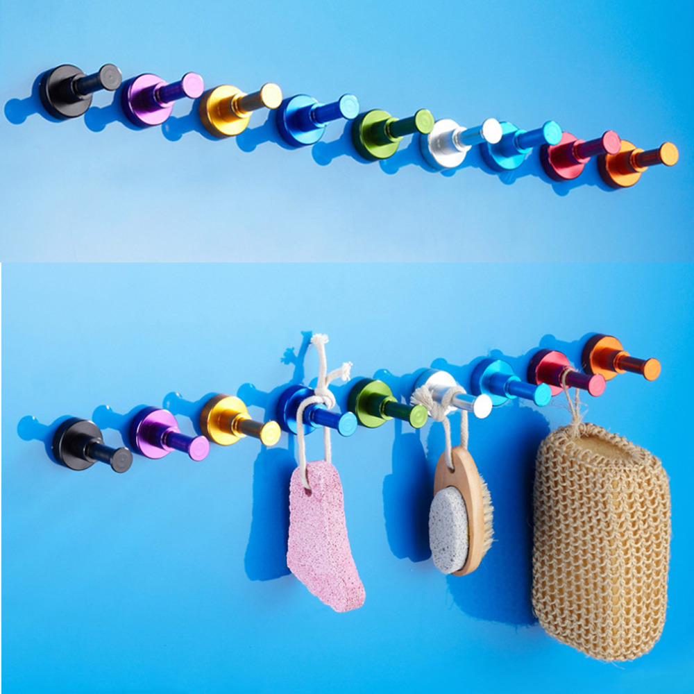 Image 4 - 9 Colors Space Aluminum Multi color DIY Towel Wall Hook Nail Bathroom Kitchen Clothes Key Hat Rack Bag Hanger Holder-in Hooks & Rails from Home & Garden