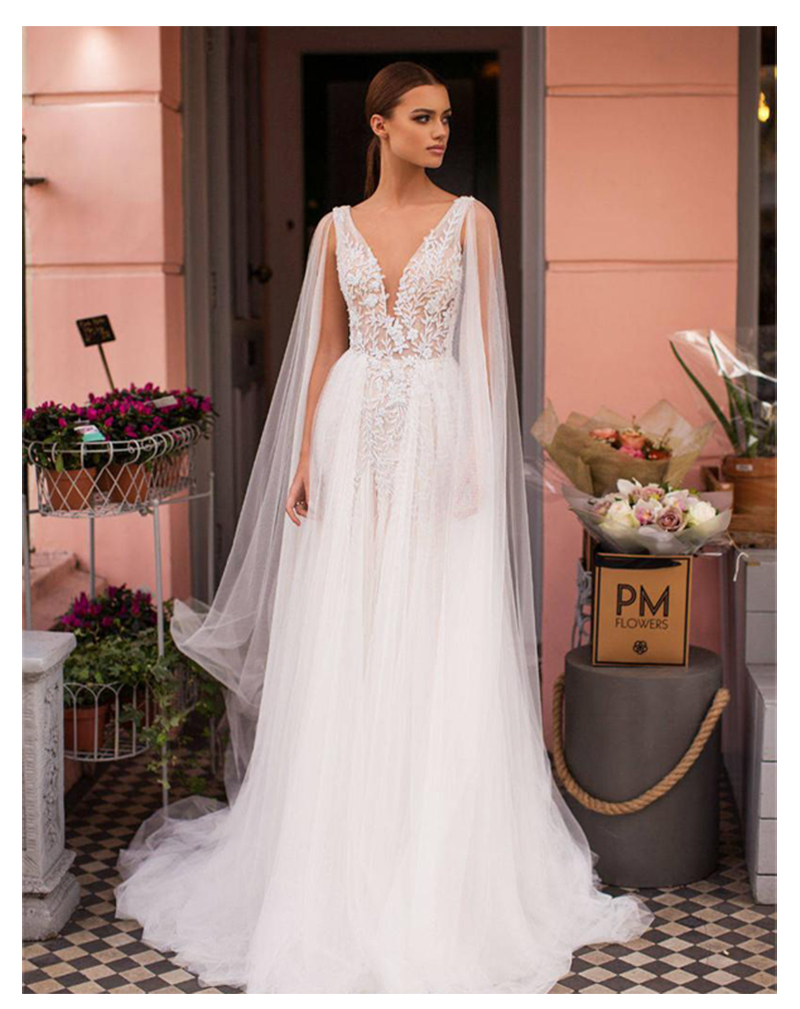 2019 Wedding Dress A Line Sleeveless Strapless Lace Appliques Bride Dresses Sexy Backless Dresses Custom Made  With Shawl