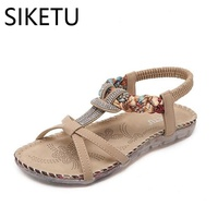 SIKETU Female Shoes Summer New Roman Style Printing Pattern Sandals Rhinestones Decoration Bohemia Flat Elastic Band