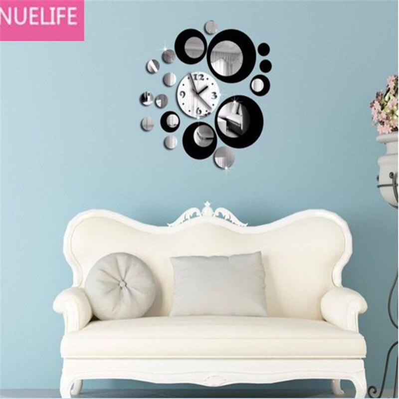 DIY acrylique couleur rouge et argent miroir horloge conception salon TV canapé fond mur décoratif horloge miroir autocollants N1