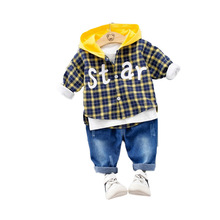 New Kids Suit Autumn Infant Clothing Sets Boys Girls Baby Cartoon Plaid Jacket T Shirt Pants 2PCS Cotton Kids Clothes Suits цена в Москве и Питере