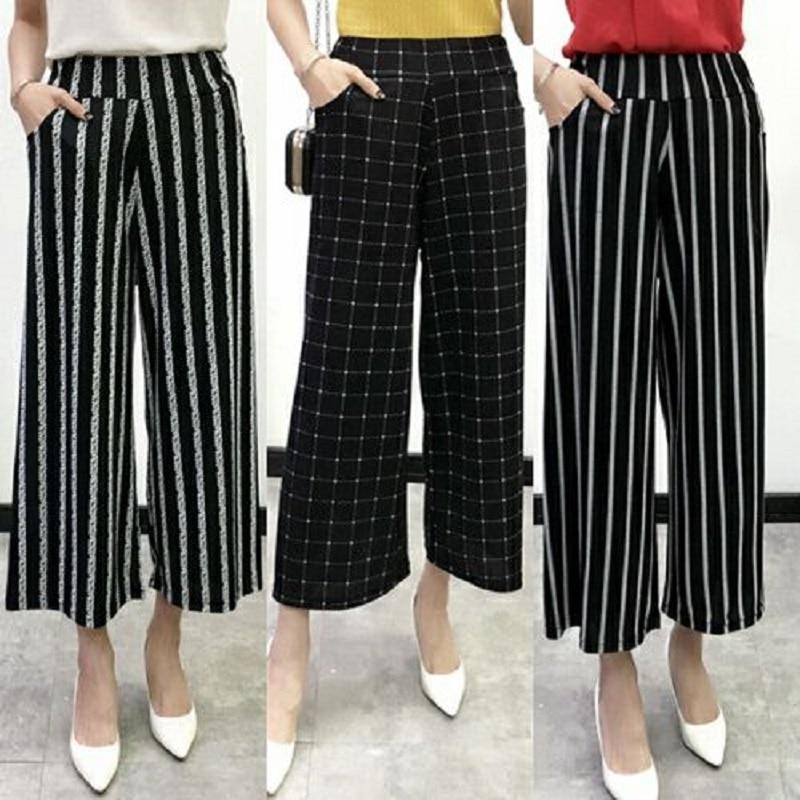 women clothing women   pants   calf-length   pants   print elastic flared trousers european summer thin   wide     leg     pants   women capris