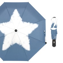 Susino Cloud Shape Star Windproof Umbrella Fully-automatic Open Metal Pongee Compact Auto CLose Three-folding Umbrellas