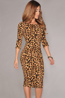 New 2014 Women Summer Long Sleeve Low V Back Evening Vintage Club Sexy Midi Party Formal
