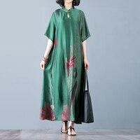 Винтажное торжественное платье женское элегантное платье с принтом в стиле бохо повседневное этническое платье с воротником стойкой Высок