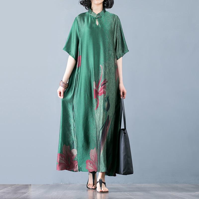 Vintage robe formelle femmes imprimé élégant Style Boho décontracté imprimé ethnique col montant haute qualité robe en soie femmes taille unique