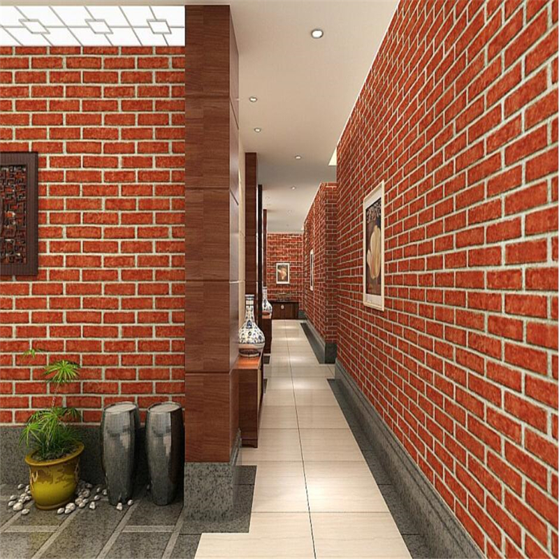 Beibehang Home decoration 3D brick wallpaper clothing store restaurant cafe antique brick PVC engineering 3d wallpaper roll hasbro