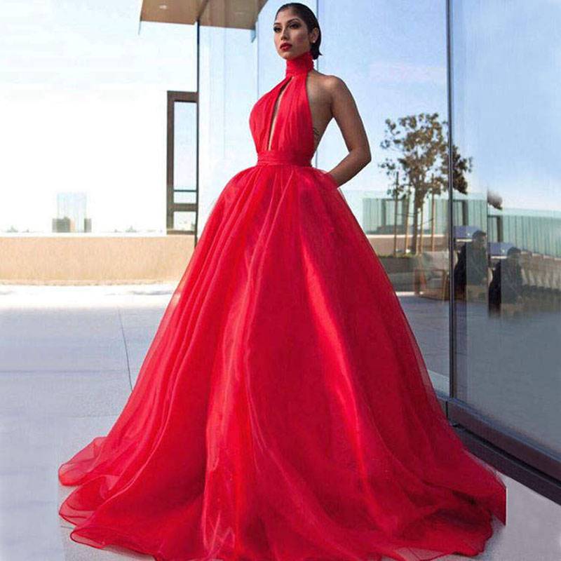 Long Red   Prom     Dresses   2019 Elegant High Neck Sleeveless Plus Size Backless African Women Organza   Prom     Dress