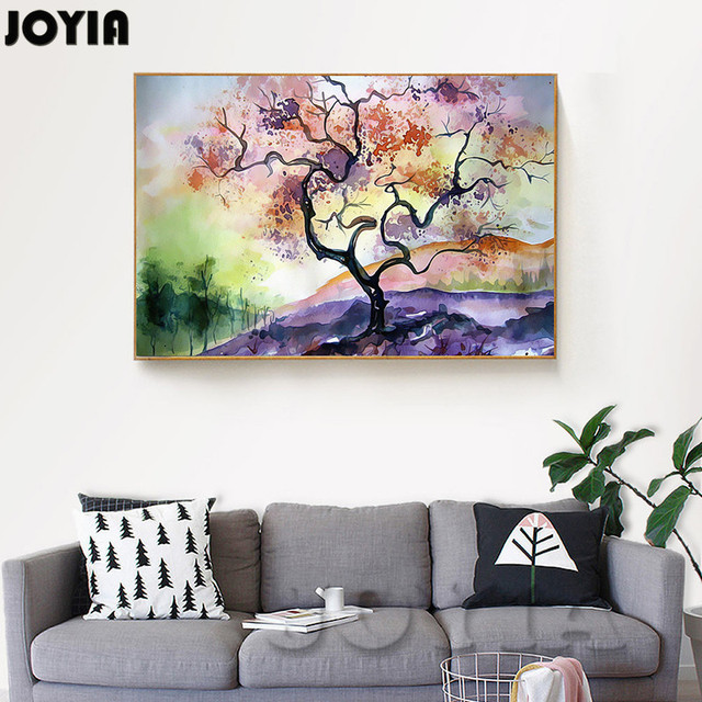 Abstract Color Tree Decoration Painting Watercolor Ink World Scenery ...
