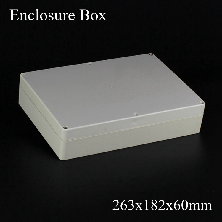 (1 piece/lot) 263*182*60mm Grey ABS Plastic IP65 Waterproof Enclosure PVC Junction Box Electronic Project Instrument Case 263 182 60mm plastic enclosure box waterproof junction box transparent electronic project boxes