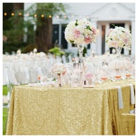 Shiny Mermaid Gold Sequin Tablecloth 90x156in Sequin Table Over 225 390cm Sequin Table Linen For Banquet