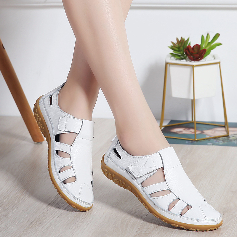 Women Gladiator Sandals Shoes Genuine Leather Hollow out Flat Sandals Ladies Casual Soft bottom Summer Shoes Women Beach Sandal in Low Heels from Shoes
