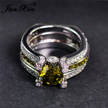 JUNXIN Fashion Olive Green Crystal Zircon Ring Set for Women Men Engagement Double Rings White Gold Filled CZ Birthstone Jewelry