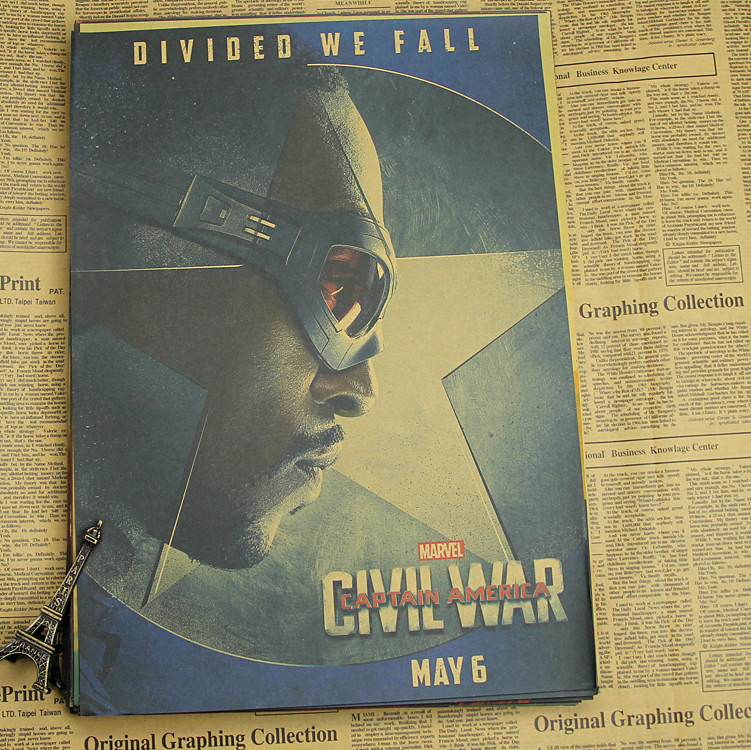 Captain America 3 Civil War Movie Poster retro kraft paper, bar bedroom dormitory wall image