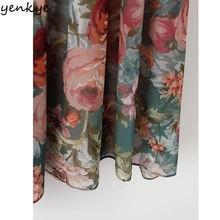 Autumn Women Vintage Printed Dress Long Sleeve O Neck 2pcs Casual Chiffon Dress European Style Elastic Waist A-line Long Dress