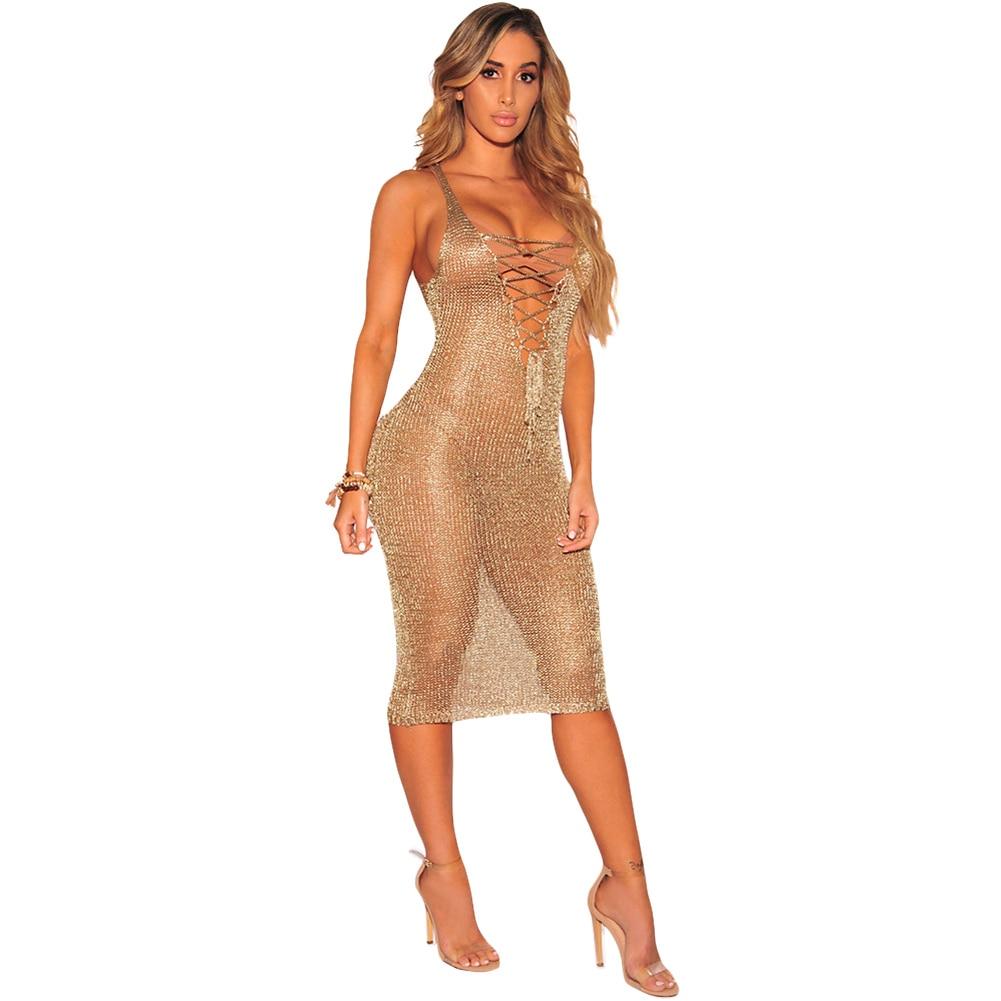 80e0ee3453 Sexy Women Sheer Knit Dress Lace Up Deep V Neck Sleeveless Beach Dress  Party Nightclub Midi