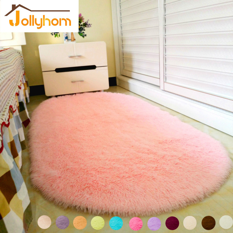 Lovely Ellipse Shape Pink Area Rug Bedroom Living Room Long Hair Shaggy  Soft Carpet Popular Non