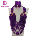 Colorful Purple African Beads Jewelry Sets Nigerian Wedding Jewelry Sets Full Beads Indian Bridal Jewelry Sets Hot GS453