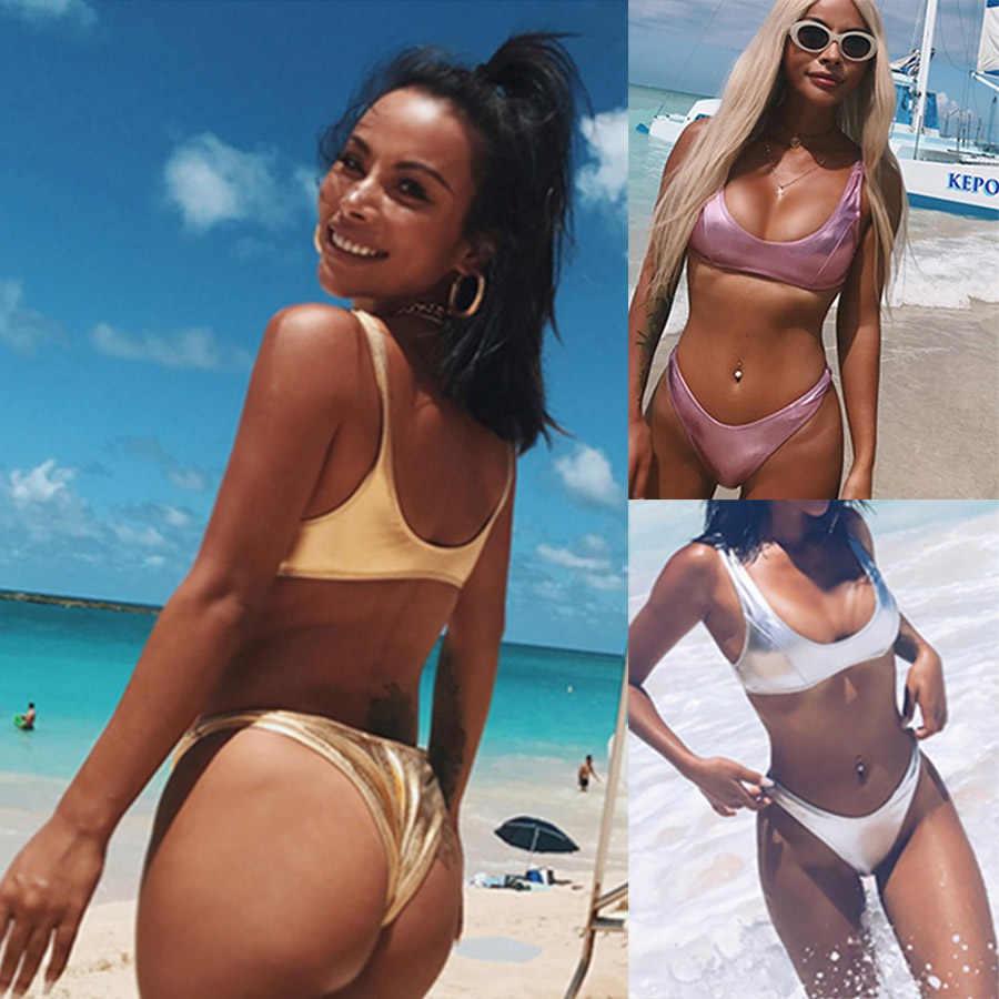 Sexy argent or Micro Bikini ensemble femmes brésilien Push Up string maillots de bain Bling Bikini doré maillot de bain maillot de bain Biquini