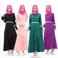 Multicolor ocasional menores Bairam mujeres musulmanas de la hoja del loto vestido Maxi columpio Abaya musulmán ropa islámica CH-77