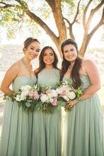 2017 Cheap Elegant Bridesmaid Dress A line Light Green Chiffon Different Style Mismatch Long Bridesmaid Dresses