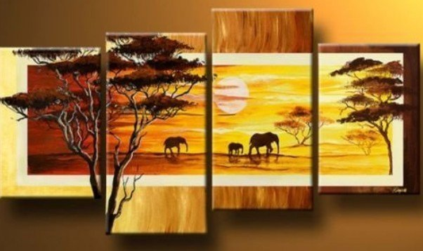 "Modern Oil Painting On Canvas:""Elephant"" Guaranteed 100% Free shipping"