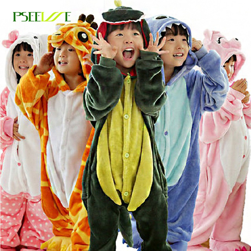 Children S Pajamas Winter Flannel Animal Pajamas One Piece Totoro Stitch Panda Dinosaur Pikachu Bbay Boys
