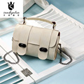 New Design Synthetic Leather Woman Shoulder Bags Japan and Korean Style Crossbody Bags For Girl  Mini Metal Chain lady Bags