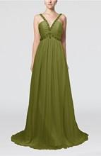 Elegant sleeveless chiffon floor length ribbon bridesmaid dresses Cheap plus size