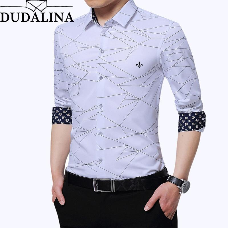 Dudalina Shirt Male 2019 Long Sleeve Men Shirt No pocket Casual Embroidery Formal Business Man Shirt Slim Fit Designer Dress